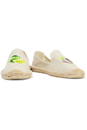 SOLUDOS Embroidered canvas espadrilles