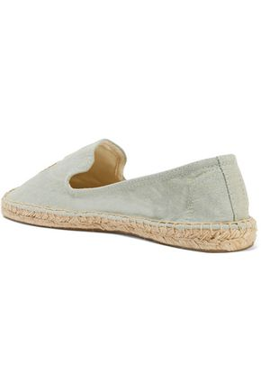 SOLUDOS Embroidered chambray espadrilles
