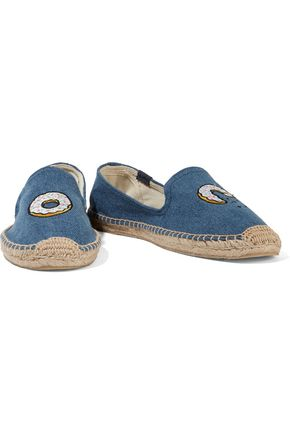 SOLUDOS + Jason Polan embroidered denim espadrilles