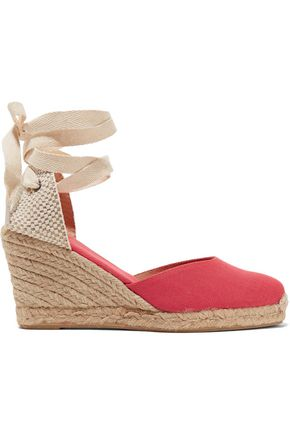 SOLUDOS Lace-up canvas wedge espadrilles