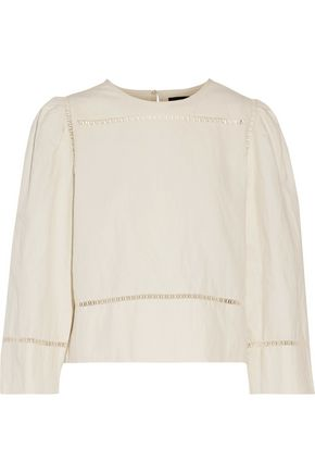 ISABEL MARANT Rifen open knit-trimmed linen and cotton-blend top