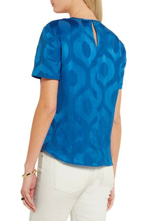 ISABEL MARANT Silway knotted satin-jacquard blouse