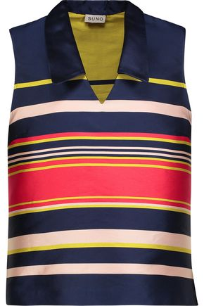 SUNO Striped satin top
