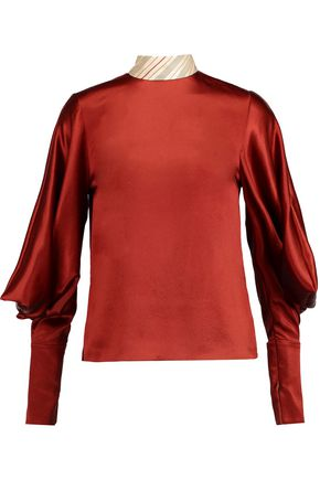 ROKSANDA Twill-paneled cutout textured-silk top