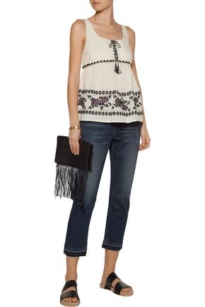 SUNO Gathered embroidered cotton-broadcloth top
