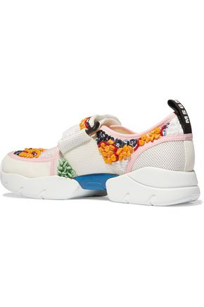 MSGM Cutout embellished mesh and leather sneakers
