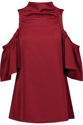 ELLERY Suko cold-shoulder satin-crepe top