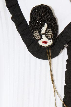 ALICE + OLIVIA Kara embellished ruffle-trimmed chiffon and stretch silk-crepe playsuit