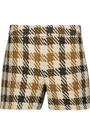 ALICE + OLIVIA Marisa checked woven shorts