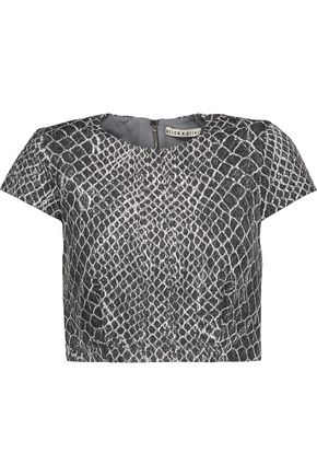 ALICE + OLIVIA Latisha cropped printed woven top