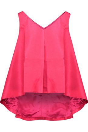 PAPER London Raspberry asymmetric satin-faille top
