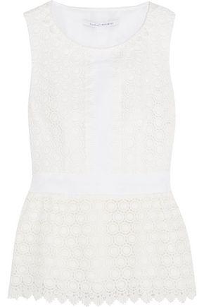 DIANE VON FURSTENBERG Tavita mesh-trimmed cotton-lace top