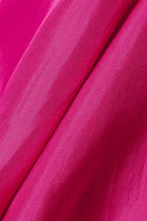 PAPER London Scala pleated silk-satin twill top