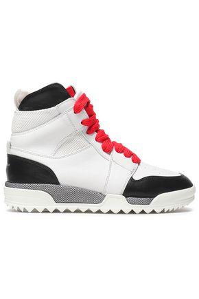 RAG & BONE Korban mesh-paneled leather high-top sneakers