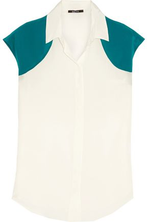 RAOUL Two-tone silk blouse