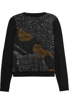 RAOUL Mika metallic lace-paneled printed silk sweatshirt