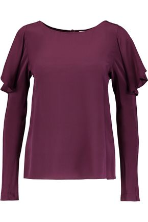 TEMPERLEY LONDON Violetta ruffled silk crepe de chine top