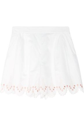 TEMPERLEY LONDON Hika embellished embroidered cotton-poplin shorts