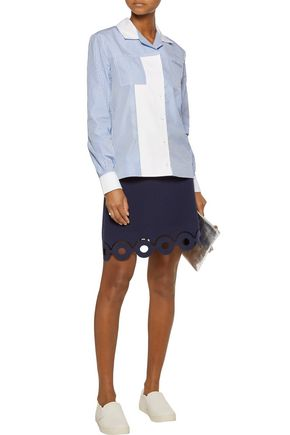 CARVEN Striped cotton-poplin shirt