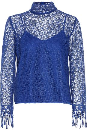 SALONI Mia cotton corded-lace turtleneck top