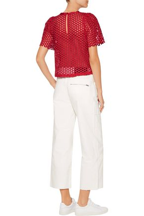 SEA Cropped broderie anglaise cotton top