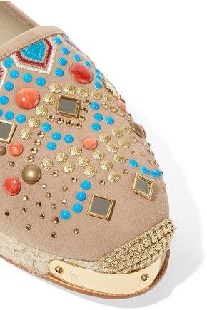 GIUSEPPE ZANOTTI Embellished suede espadrilles