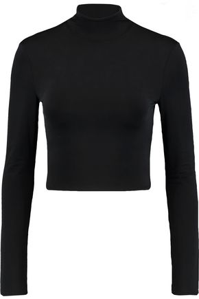 NEEDLE & THREAD Cropped stretch-jersey turtleneck top