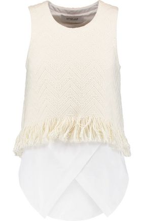 DEREK LAM 10 CROSBY Fringed woven cotton-blend top