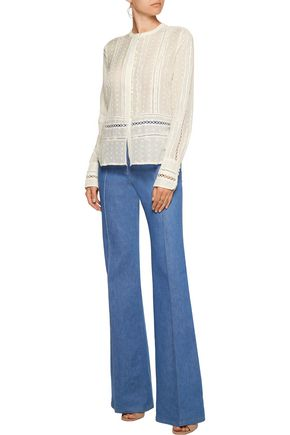 10 CROSBY DEREK LAM Open knit-trimmed embroidered cotton and silk-blend top