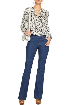 10 CROSBY DEREK LAM Printed silk-chiffon blouse
