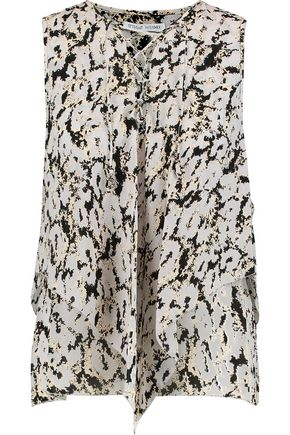10 CROSBY DEREK LAM Lace-up draped printed silk top