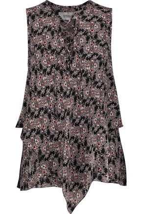 10 CROSBY DEREK LAM Lace-up printed silk crepe de chine top