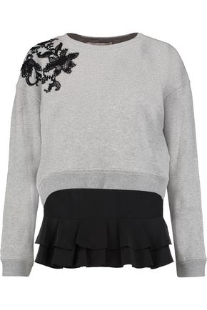 DEREK LAM 10 CROSBY Lace-paneled cotton-jersey sweatshirt and silk-crepe top set