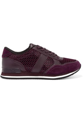DKNY Jamie suede, mesh and leather sneakers