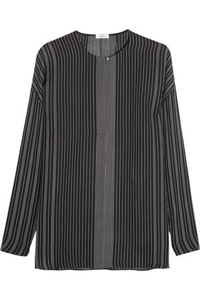 VINCE. Striped silk-chiffon blouse