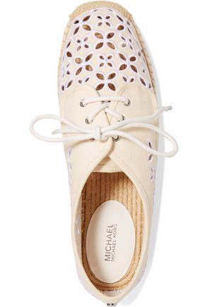MICHAEL MICHAEL KORS Darci embroidered canvas lace-ups