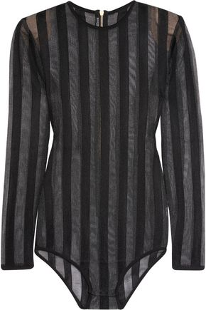 BALMAIN Striped stretch-knit bodysuit
