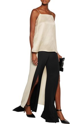 ROSETTA GETTY Asymmetric elongated satin-twill camisole