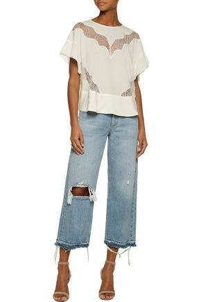 IRO Honey lace-trimmed georgette top