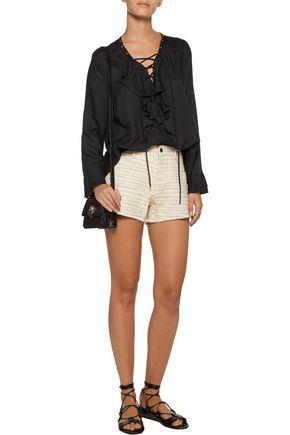 IRO Corlia embroidered cotton-blend twill shorts