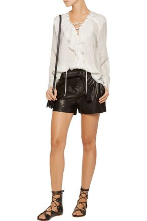IRO Finley lace-up ruffled gauze top