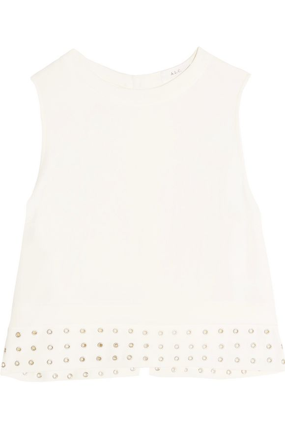 Henson cropped eyelet-embellished stretch-crepe top | A.L.C. | Sale up to  70% off | THE OUTNET