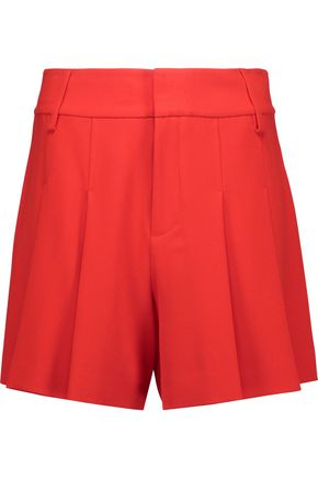 ALICE + OLIVIA Scarlet pleated crepe de chine shorts