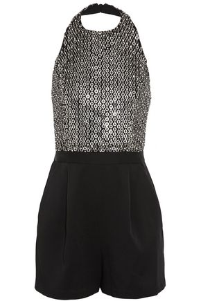 ALICE + OLIVIA Nisha embellished tulle and satin-crepe halterneck playsuit