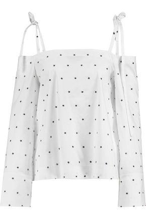 TANYA TAYLOR Margo cold-shoulder embroidered cotton-blend poplin top