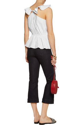 TANYA TAYLOR Mikaela ruffled stretch cotton-blend poplin top