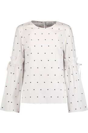 TANYA TAYLOR Martine embroidered cotton-blend poplin top