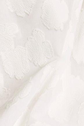 TANYA TAYLOR Nessa off-the-shoulder fil coupé cotton top