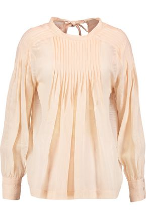 NINA RICCI Two-tone pleated voile top