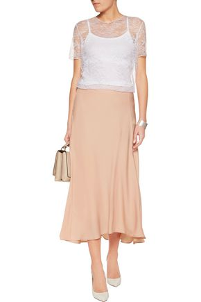 NINA RICCI Semi-sheer Leavers lace top